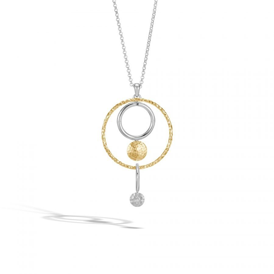 Dot Pendant Necklace in Silver and Hammered 18K Gold 2