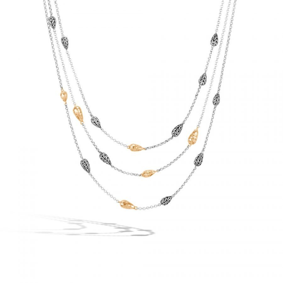 Classic Chain Multi Row Necklace in Silver & Hammered 18K Gold 2