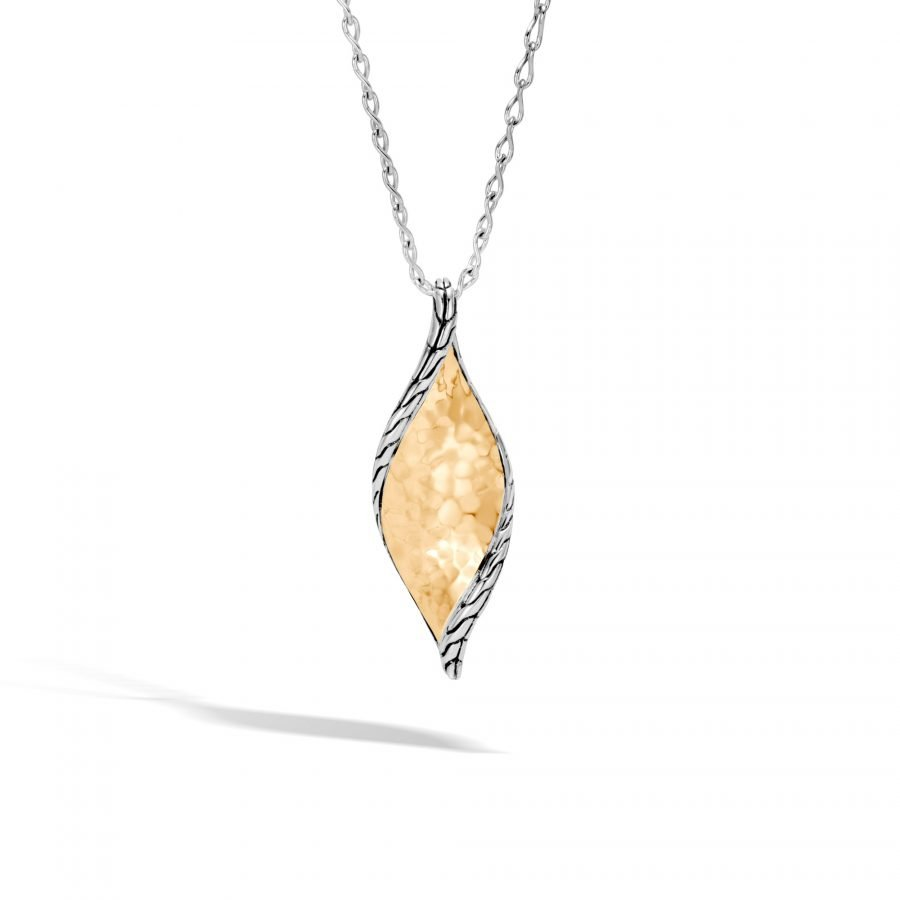 Classic Chain Wave Pendant Necklace in Silver & Hammered 18K Gold 2