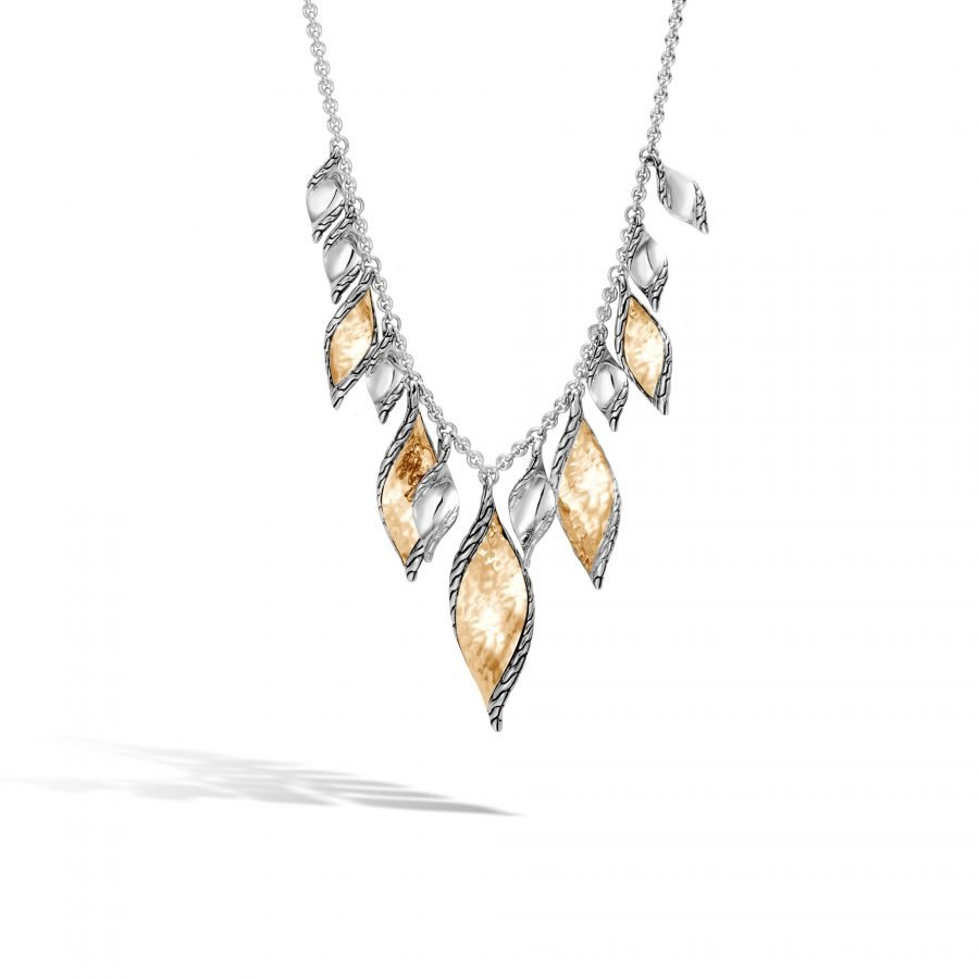 Classic Chain Wave Necklace in Silver and Hammered 18K Gold 2