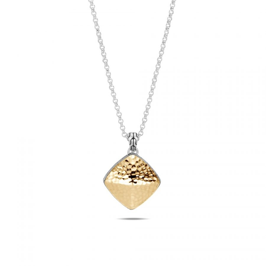 Classic Chain Large Sugarloaf Pendant, Silver, Hammered Gold 2