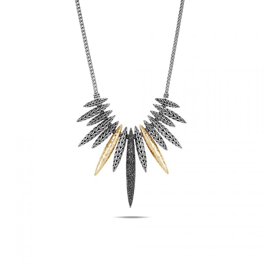 Classic Chain Spear Bib Necklace in Silver & 18K Gold with Black Spinel 2