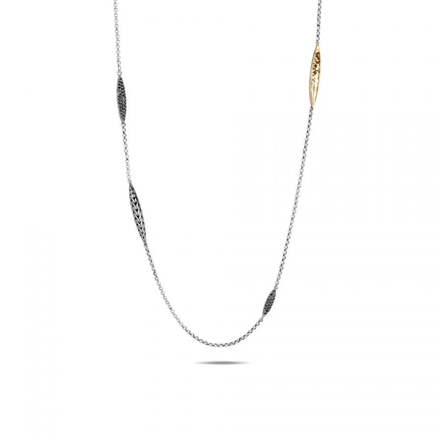 Classic Chain Spear Long Necklace in Silver & 18K Gold with Black Spinel 2