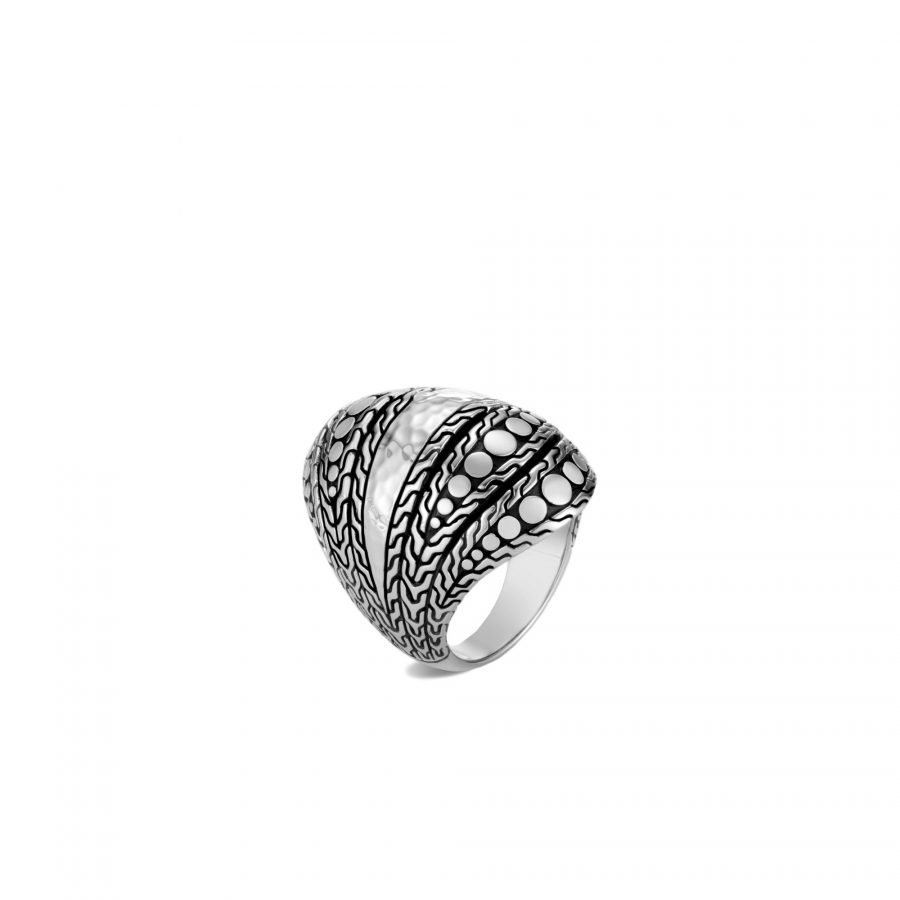 Dot Dome Ring in Hammered Silver - Size 8 2