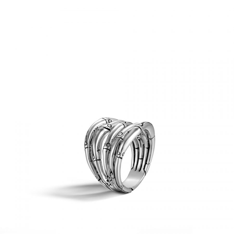 Bamboo Ring in Silver - Size 7 2