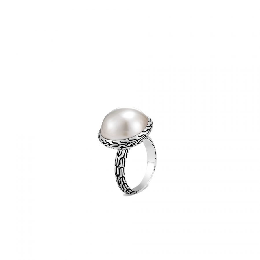 Classic Chain Ring in Silver with 17MM Mabe Pearl - Size 7 2