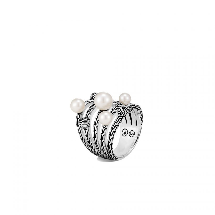 Classic Chain Ring in Silver with White Fresh Water Pearl - Size 7 2