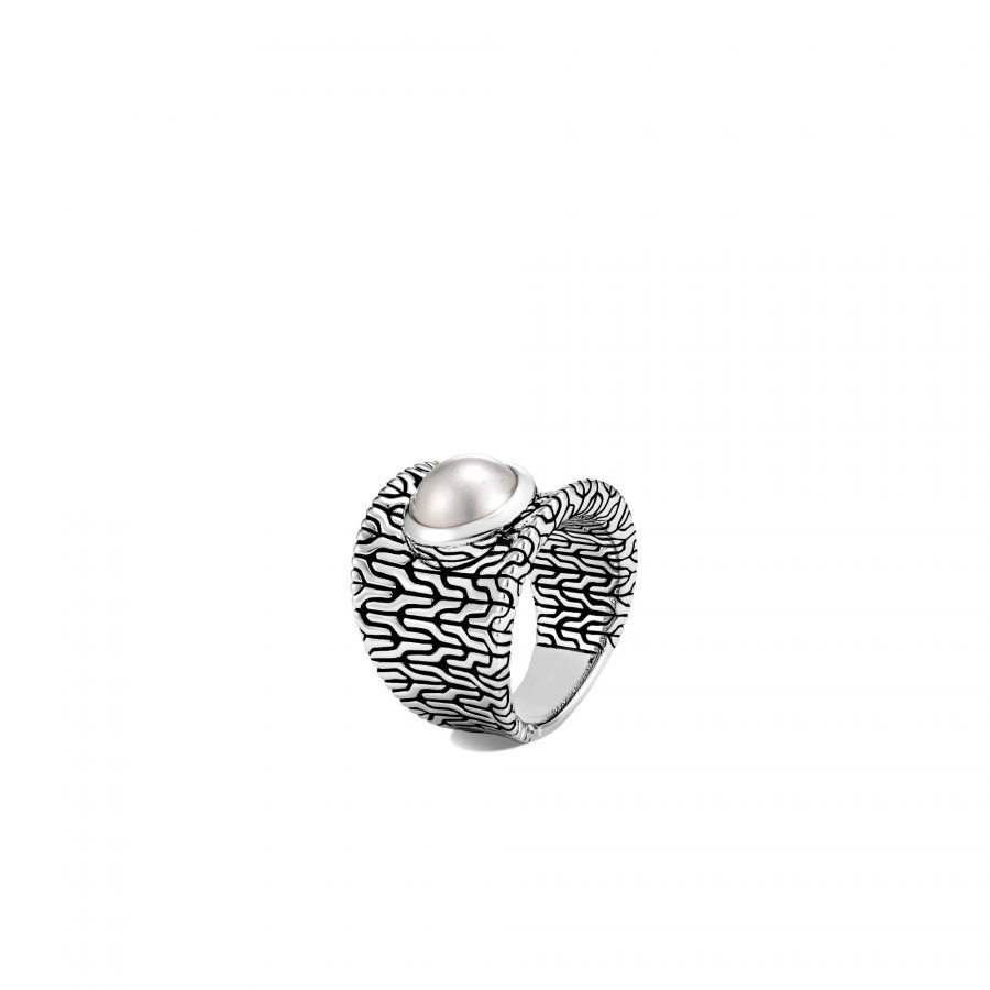 Classic Chain Saddle Ring in Silver with Mabe Pearl - Size 7 2