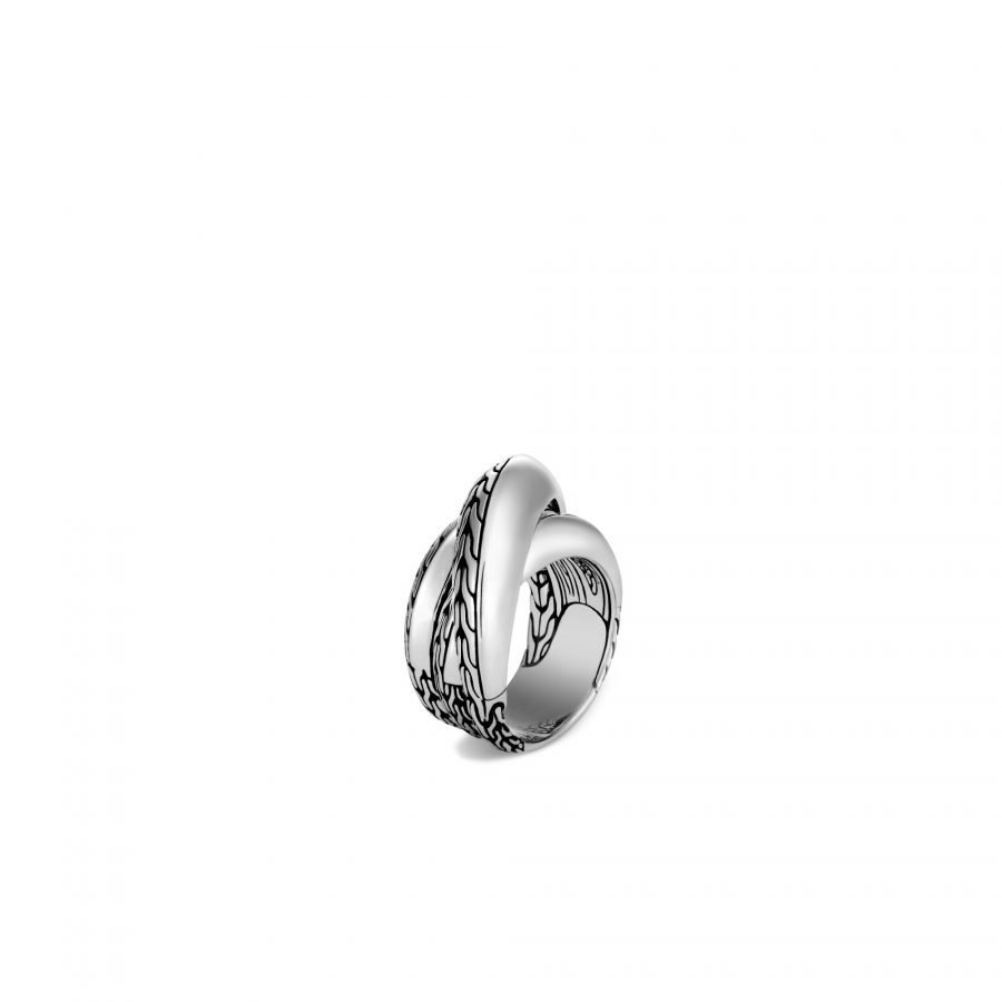 Classic Chain Knife Edge Overlap Ring in Silver - Size 7 2