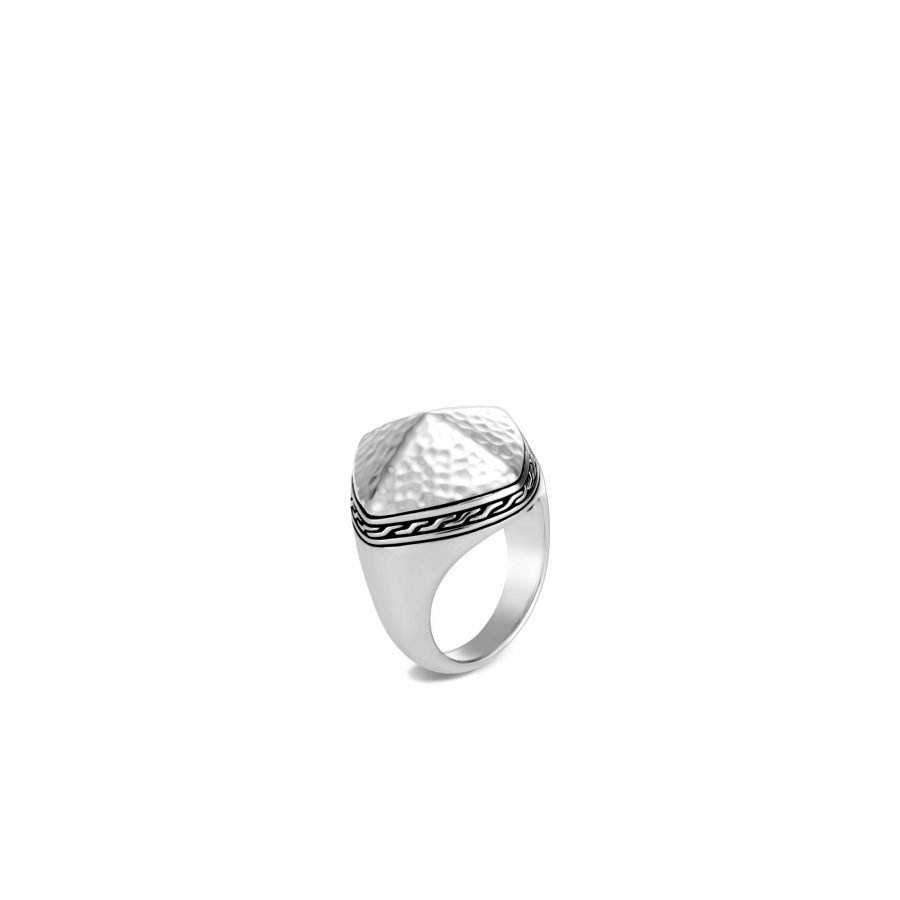 Classic Chain Sugarloaf Ring in Hammered Silver - Size 7 2