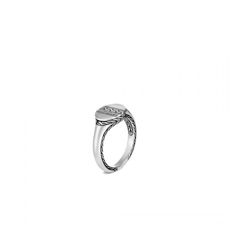 Classic Chain Signet Ring in Silver - Size 6 2