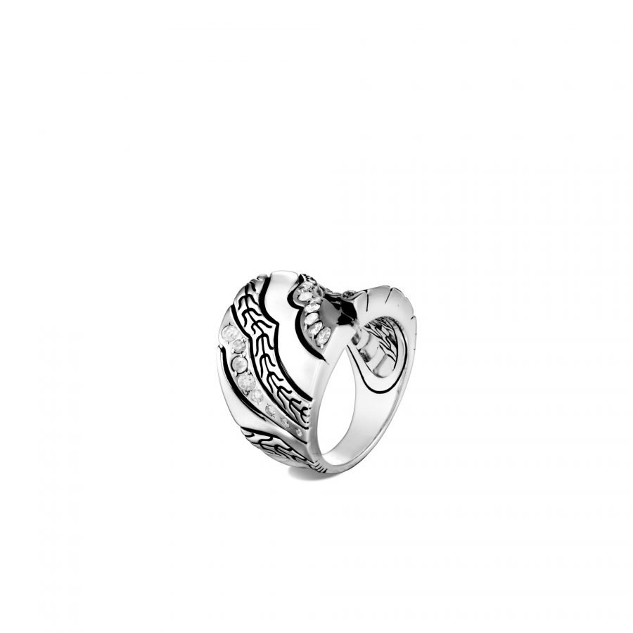 Lahar Saddle Ring in Silver with White Diamonds 2