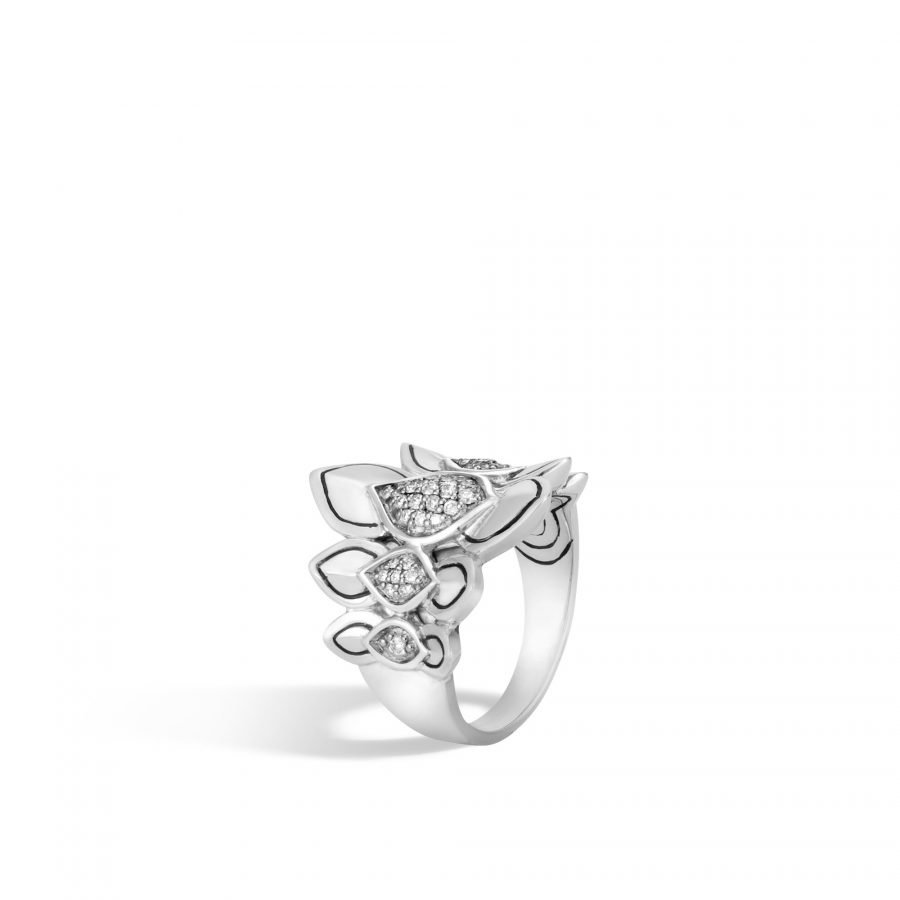 Legends Naga Saddle Ring in Silver with White Diamonds - Size 7 2