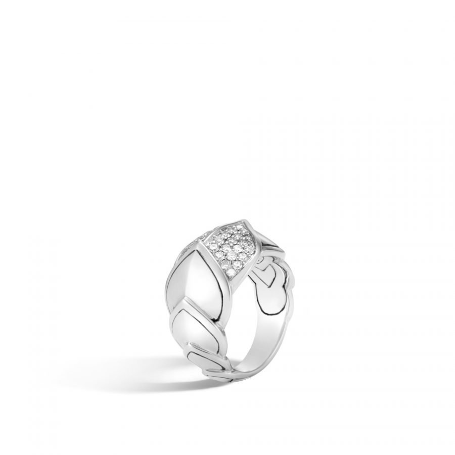 Legends Naga 15MM Ring in Silver with White Diamonds- Size 7 2