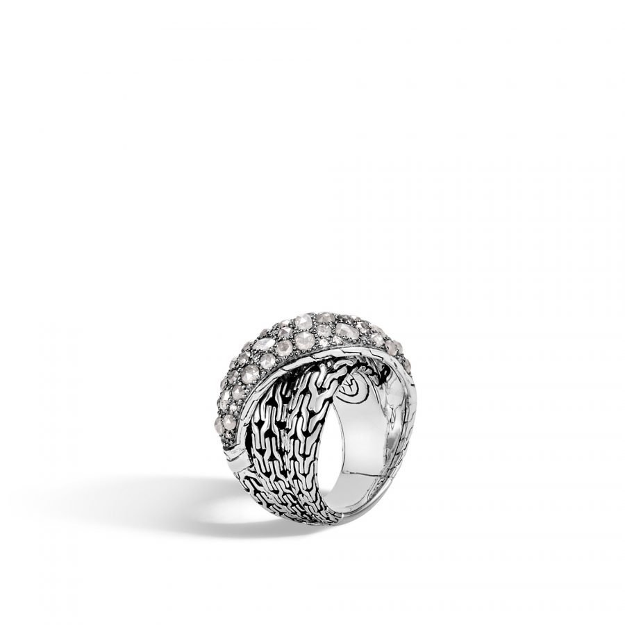 Classic Chain Overlap Ring in Silver with White Diamonds - Size 7 2