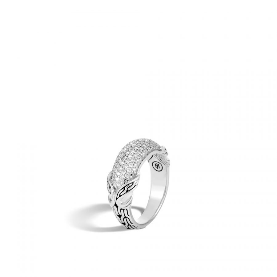 Asli Classic Chain Link Dome Ring in Silver with White Diamonds - Size 7 2