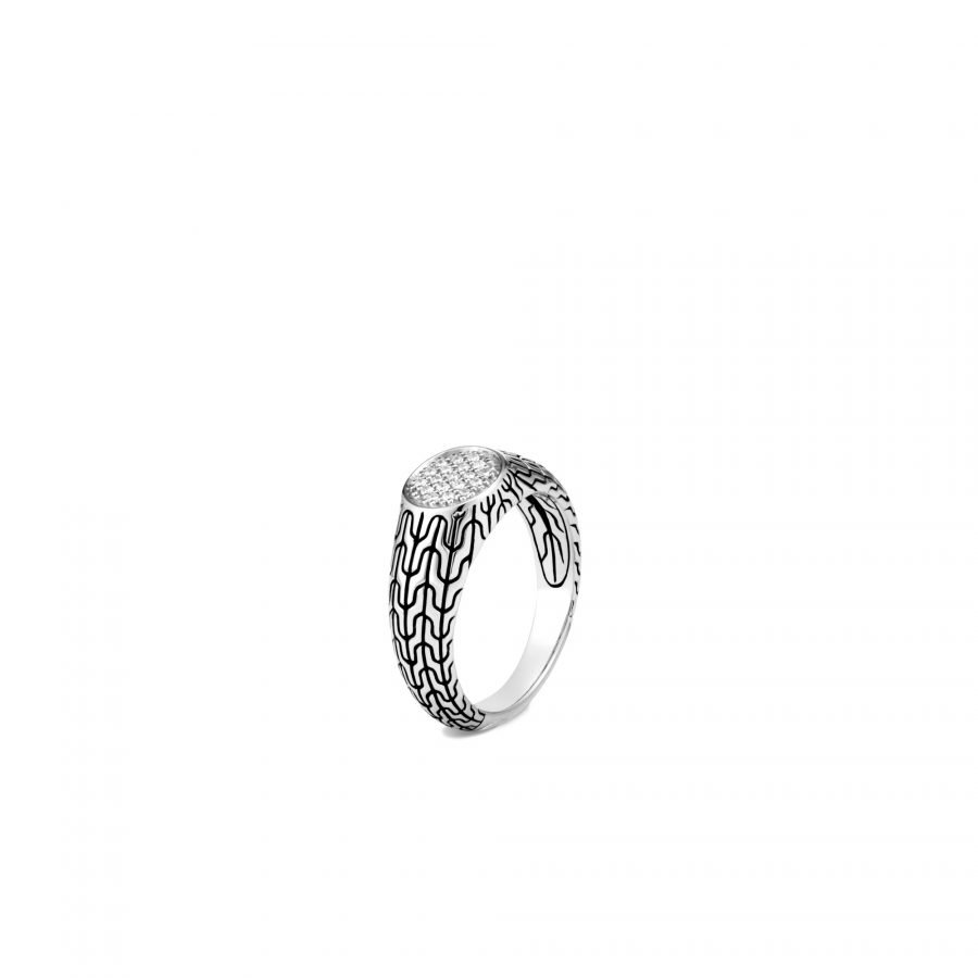 Classic Chain Signet Ring in Silver with White Diamonds - Size 6 2