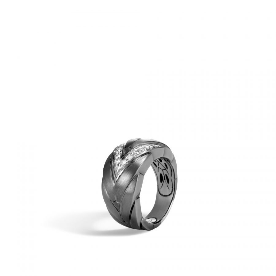 Modern Chain 12.5MM Ring in Blackened Silver with White Diamonds - Size 7 2