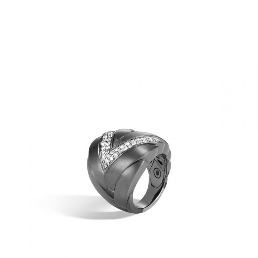 Modern Chain 24MM Ring in Blackened Silver with White Diamonds - Size 7 2