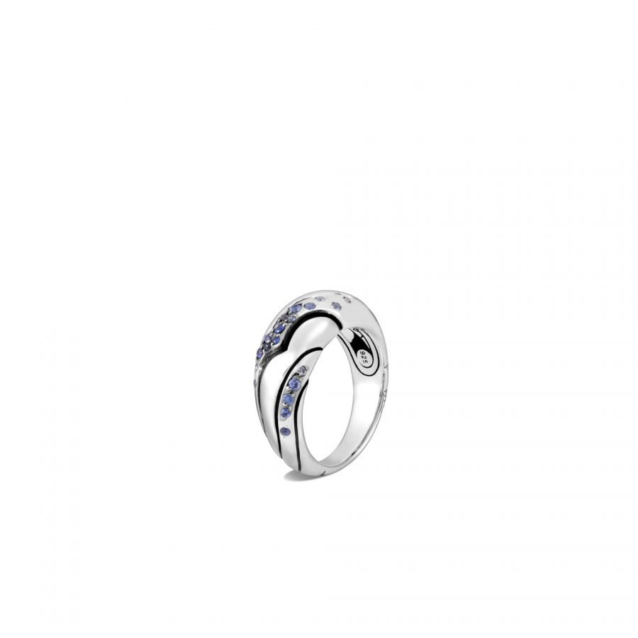 Lahar Dome Ring in Silver with Blue Sapphire 2