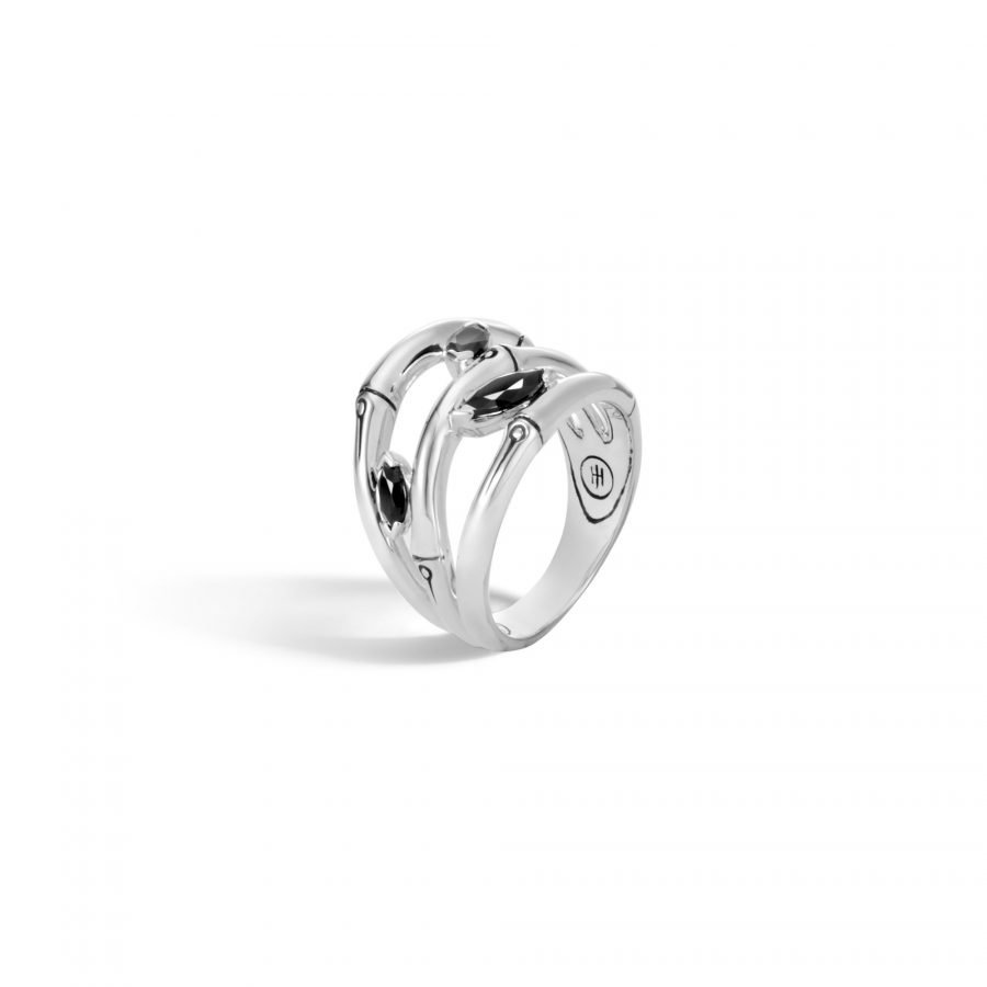 Bamboo Ring in Silver with Black Spinel - Size 8 2