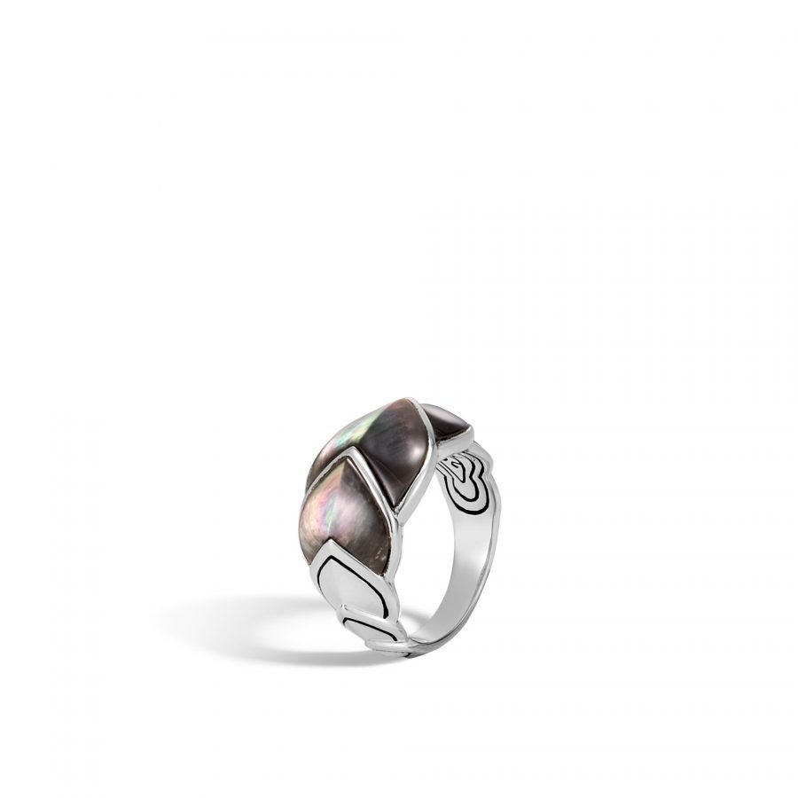 Legends Naga 15MM Ring in Silver with Grey Mother of Pearl 2