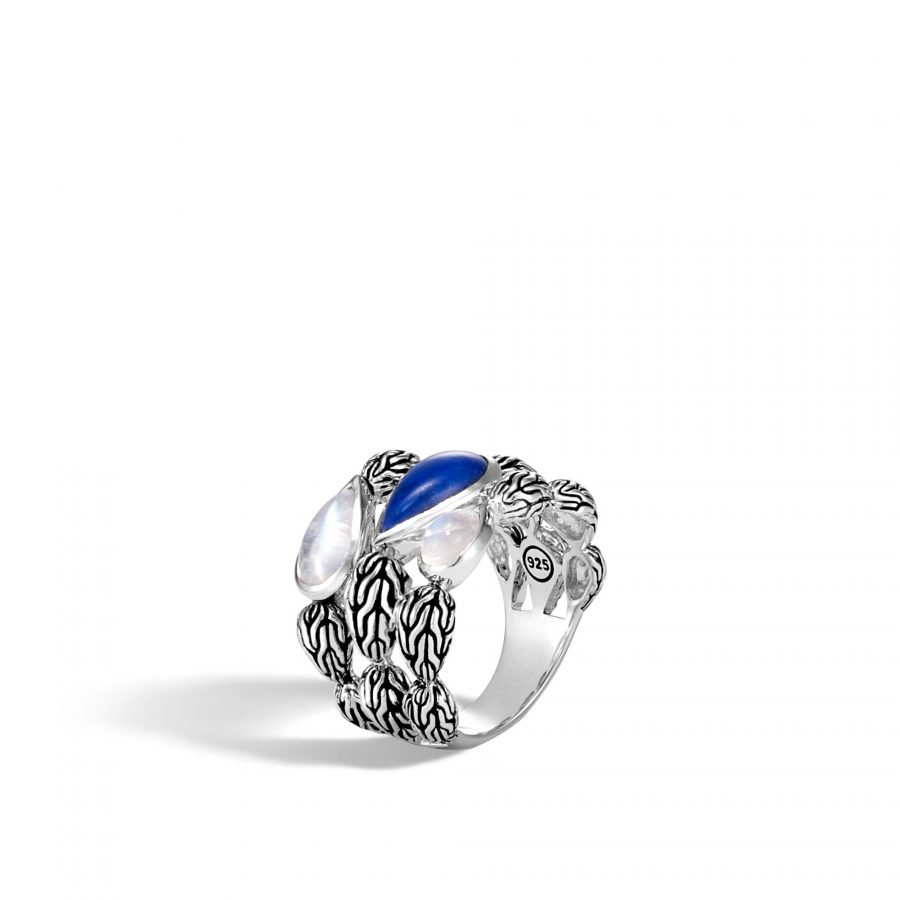 Classic Chain Ring in Silver with Lapis Lazuli - Size 7 2