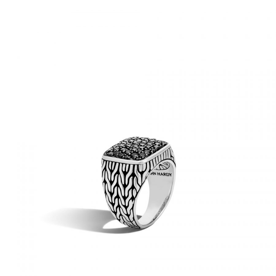 Classic Chain Signet Ring in Silver with Treated Black Sapphire - Size 10 2