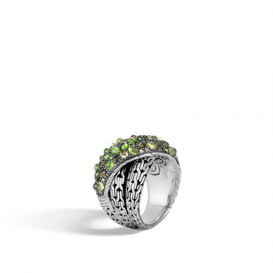 Classic Chain Overlap Ring in Silver with Green Tourmaline - Size 7 2
