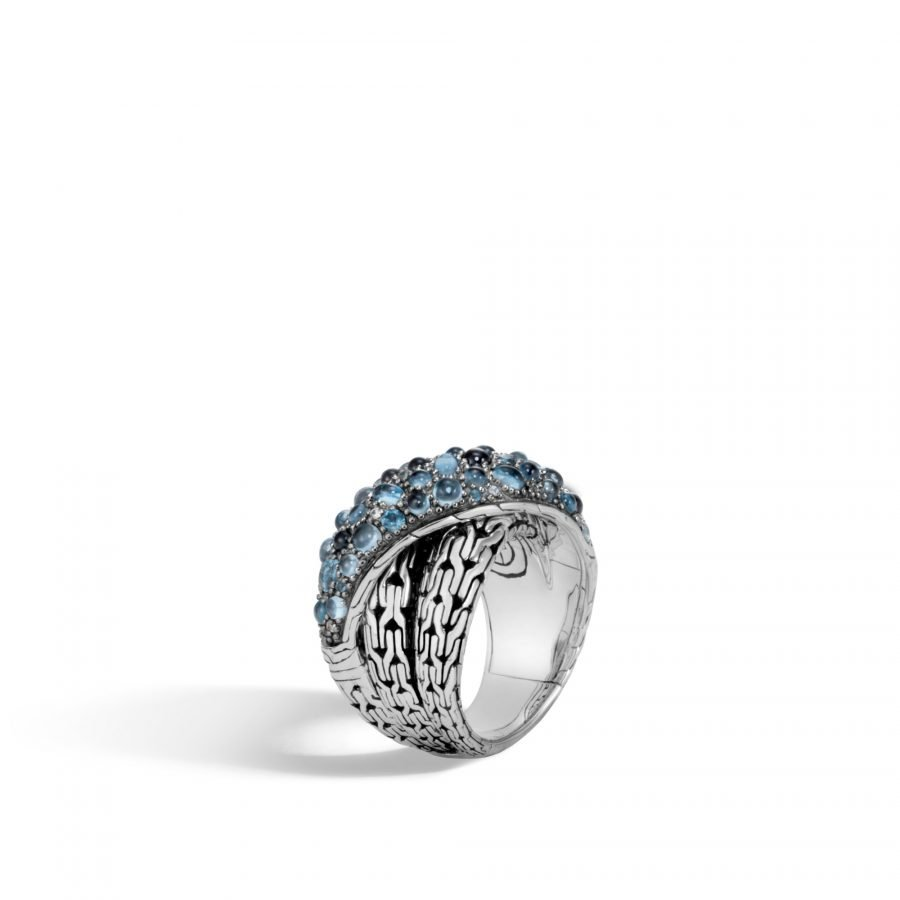 Classic Chain Overlap Ring in Silver with London Blue Topaz - Size 7 2