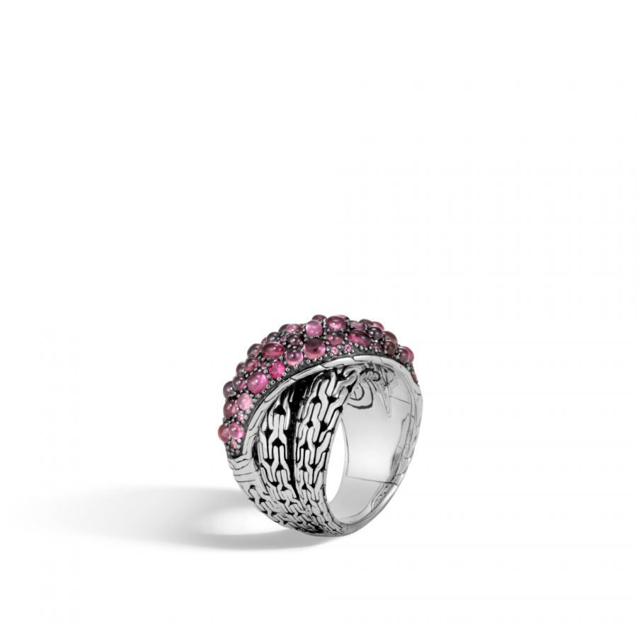 Classic Chain Overlap Ring in Silver with Pink Tourmaline - Size 7 2