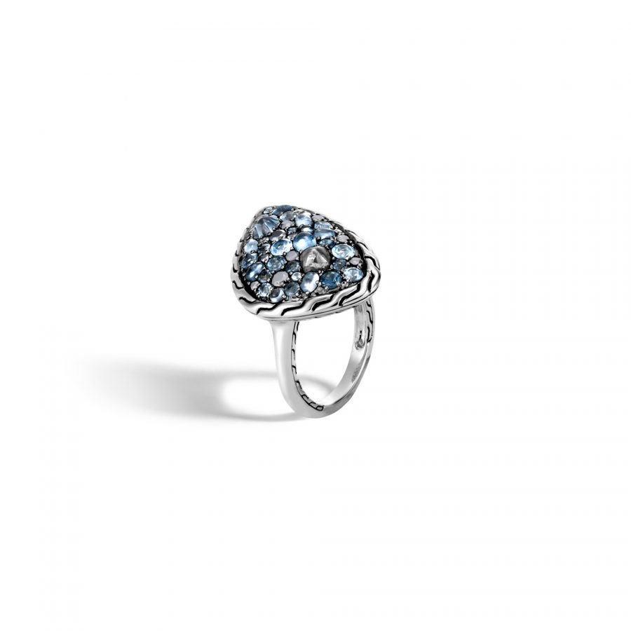 Classic Chain Ring in Silver with London Blue Topaz - Size 7 C 2