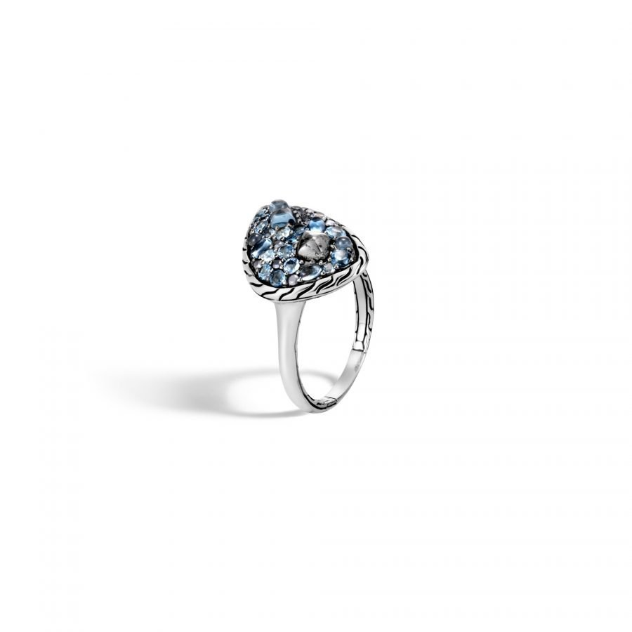 Classic Chain Ring in Silver with London Blue Topaz - Size 7 2