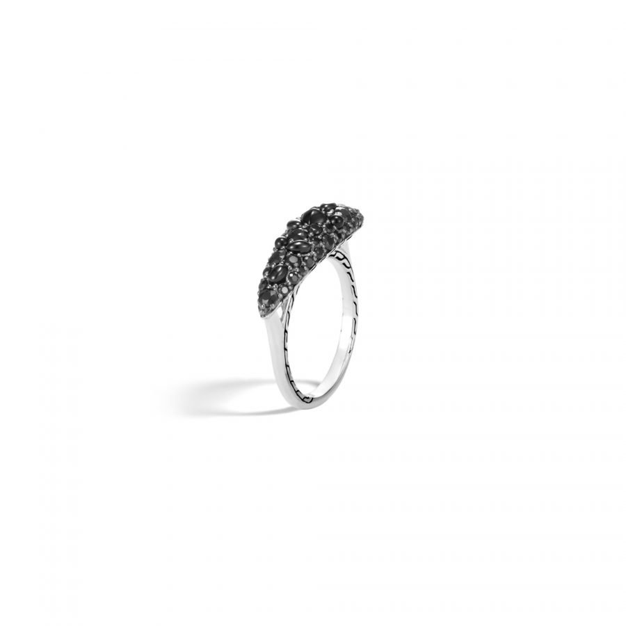 Classic Chain Ring in Silver with Black Spinel - Size 7 2
