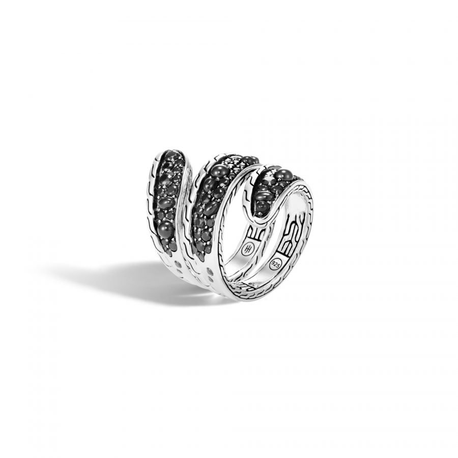 Classic Chain Ring in Silver with Black Spinel - Size 8 2