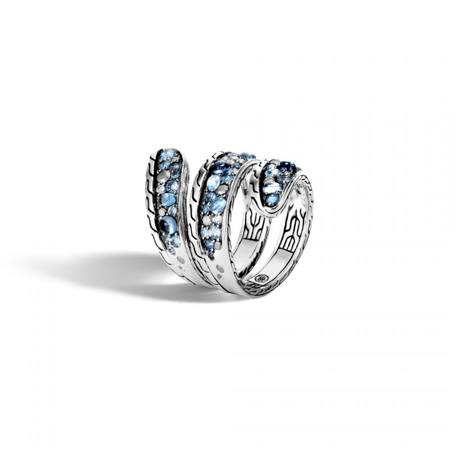 Classic Chain Ring in Silver with London Blue Topaz - Size 8 2