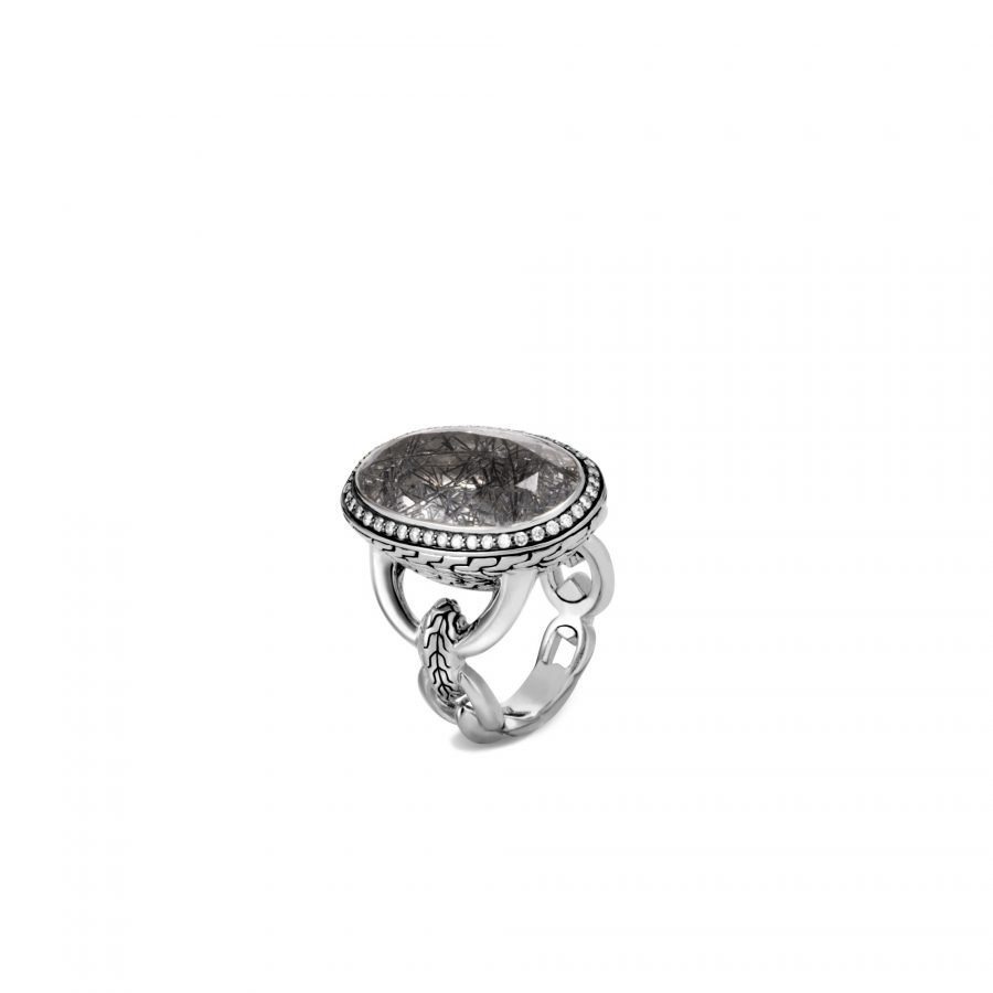 Classic Chain Knife Edge Ring in Silver with 13x22MM Rutilated Quartz & White Diamonds - Size 7 2