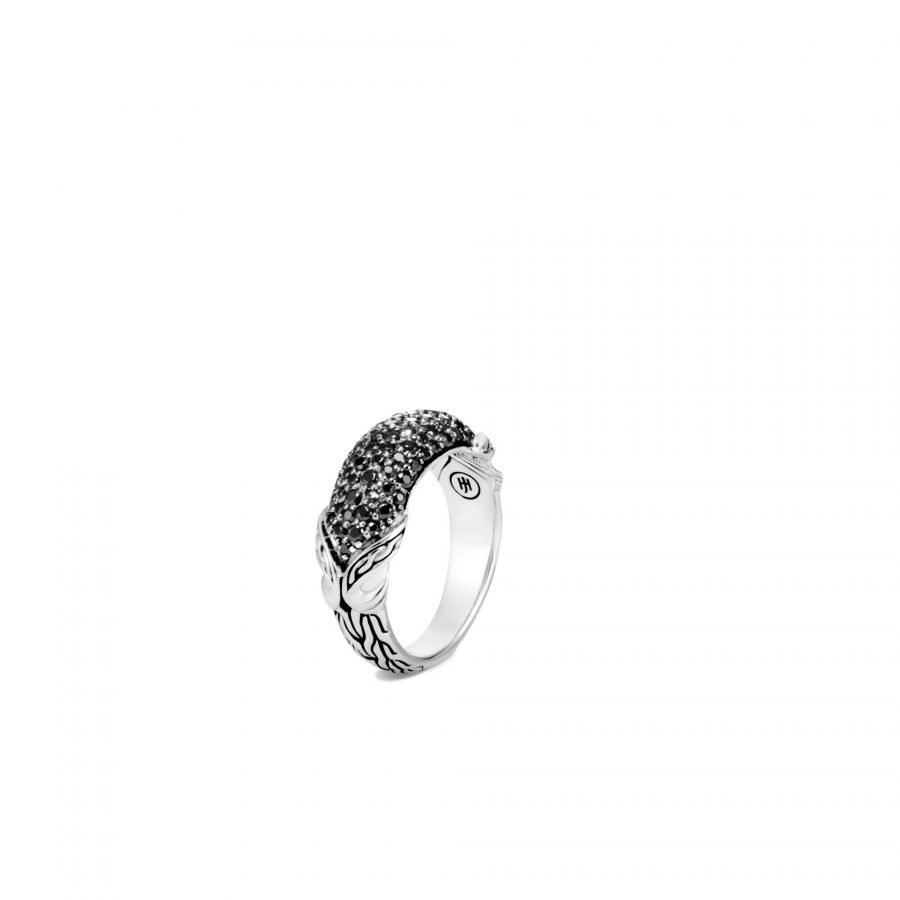 Asli Classic Chain Link Dome Ring in Silver with Black Spinel - Size 8 2