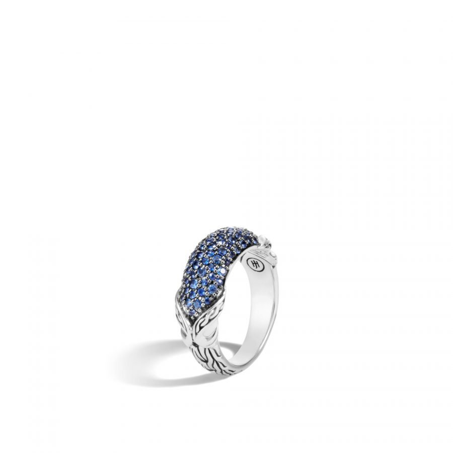 Asli Classic Chain Link Dome Ring in Silver with Blue Sapphire - Size 8 2