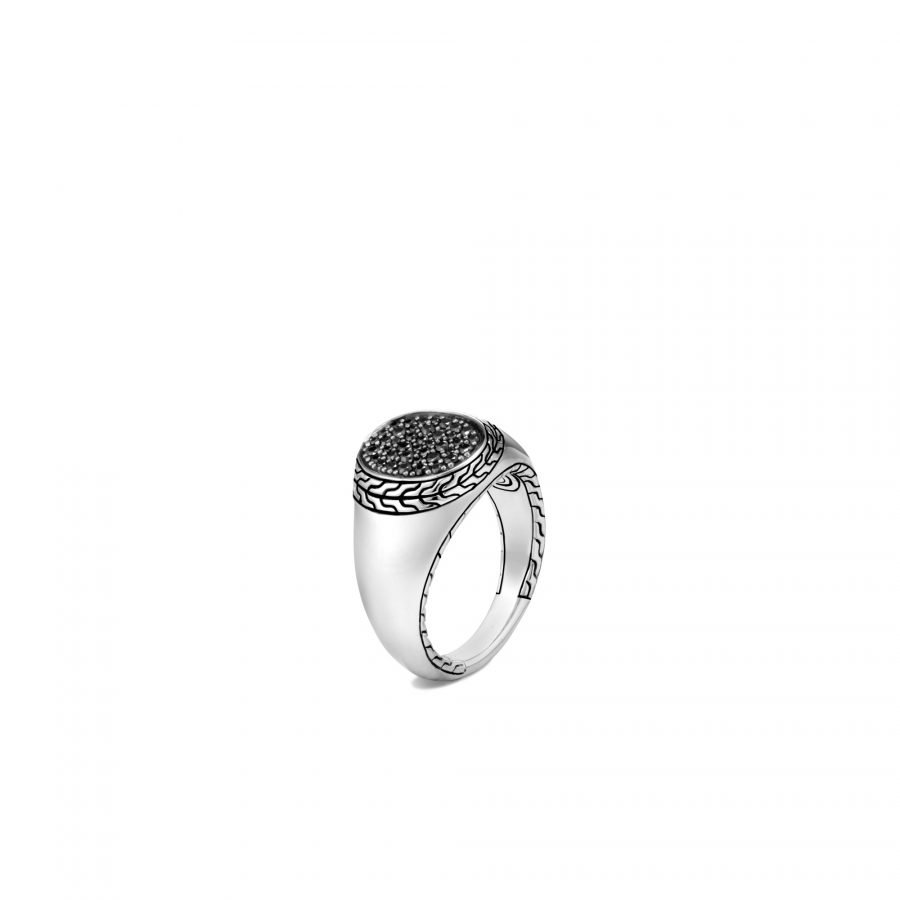 Classic Chain Signet Ring in Silver with Black Sapphire - Size 7 2