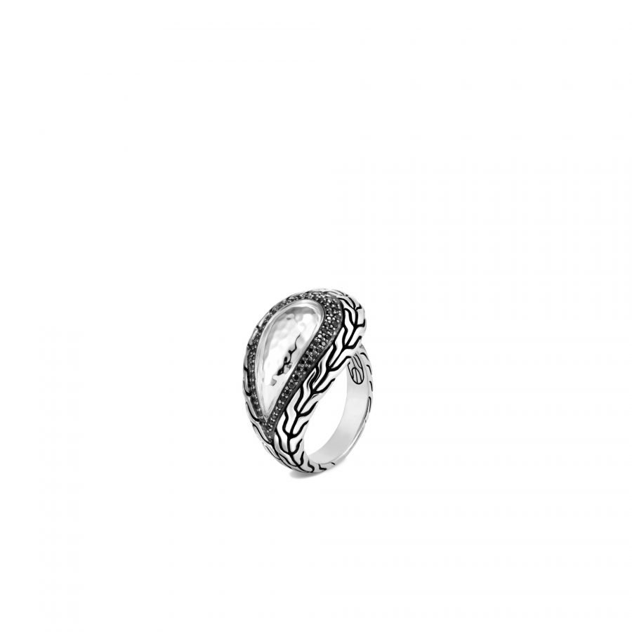 Classic Chain Ring in Hammered Silver with Black Spinel - Size 7 2