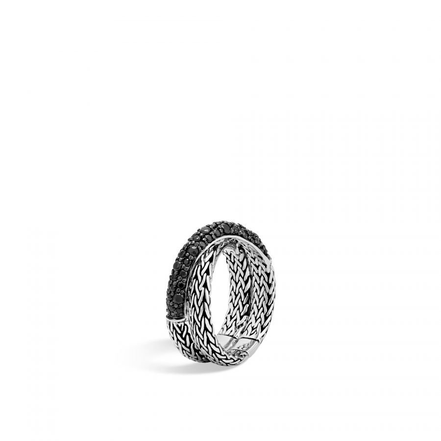 Classic Chain Overlap Ring in Silver with Black Sapphire - Size 7 2