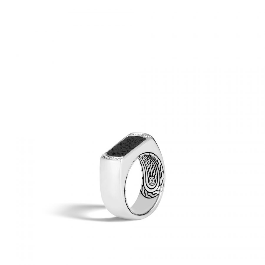Classic Chain 9MM Band Ring in Silver with Black Volcanic & White Diamonds - Size 10 2