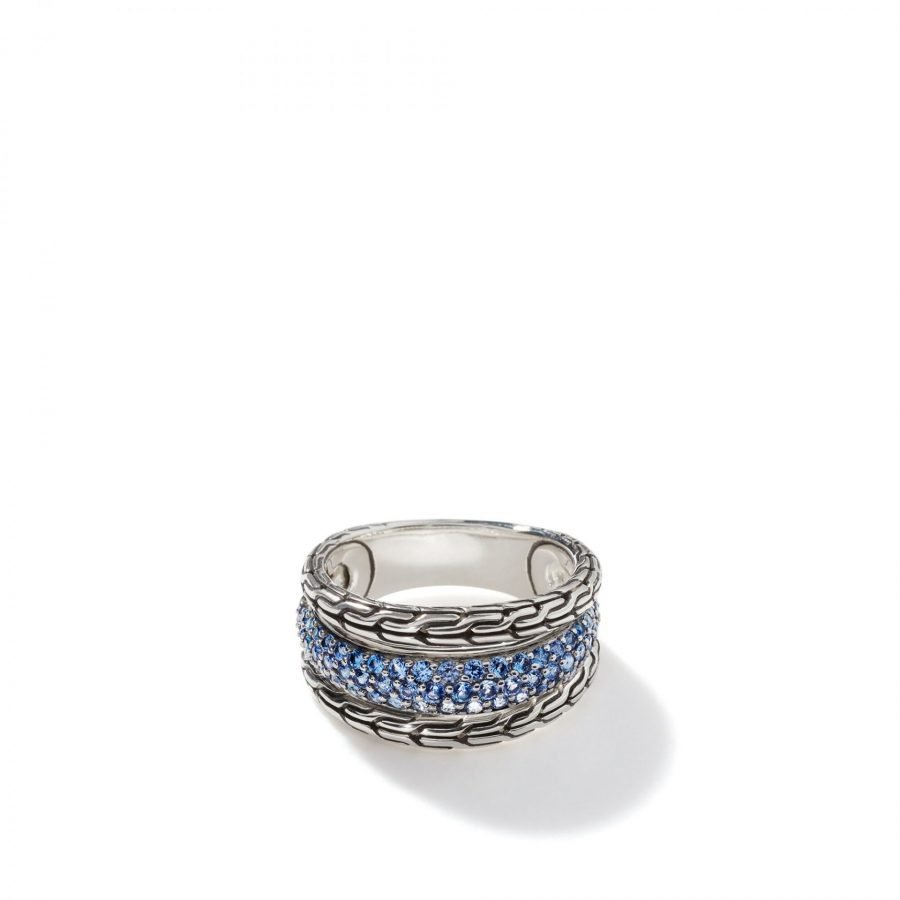 Classic Chain Ring in Silver with Blue Sapphire - Size 7 2