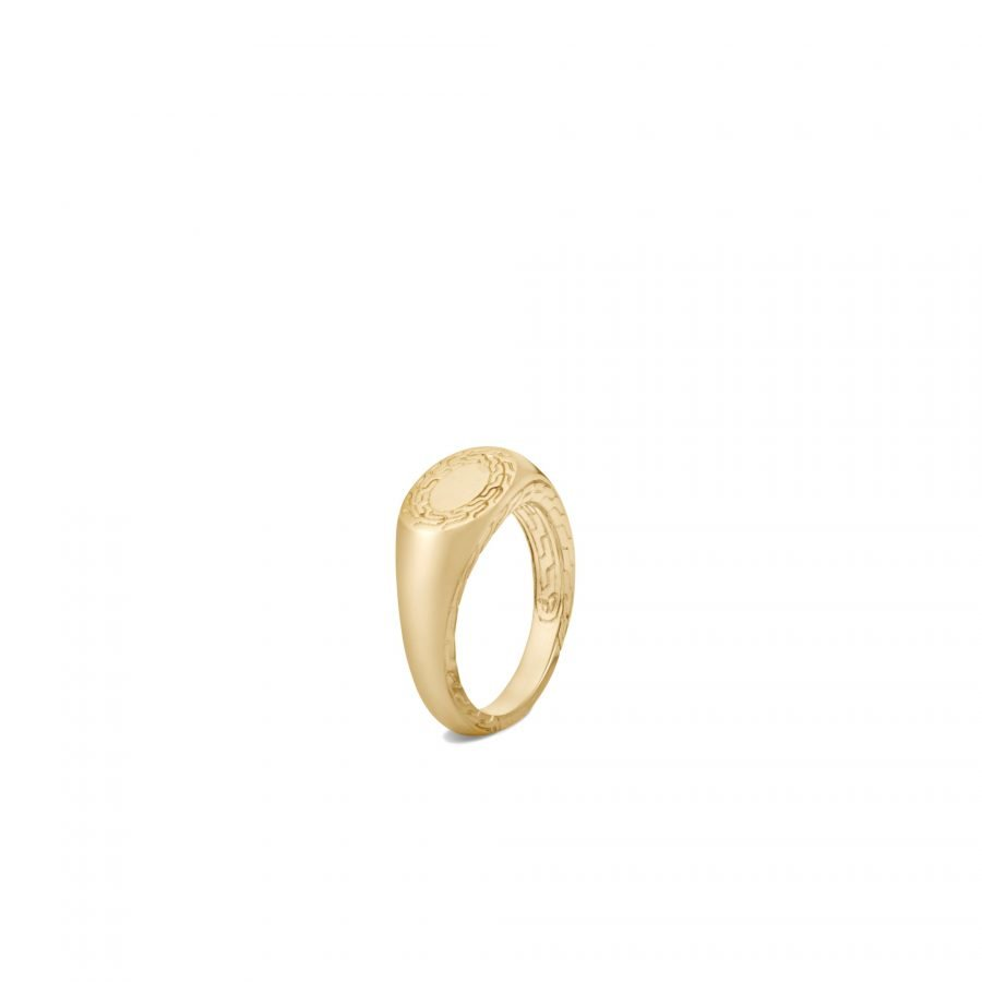 Classic Chain Signet Ring in 18K Gold - Size 6 2