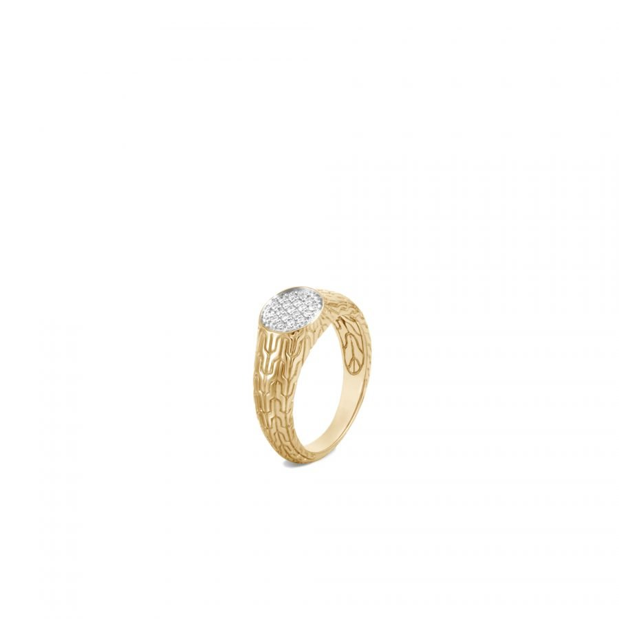 Classic Chain Signet Ring in 18K Gold with White Diamonds - Size 6 2