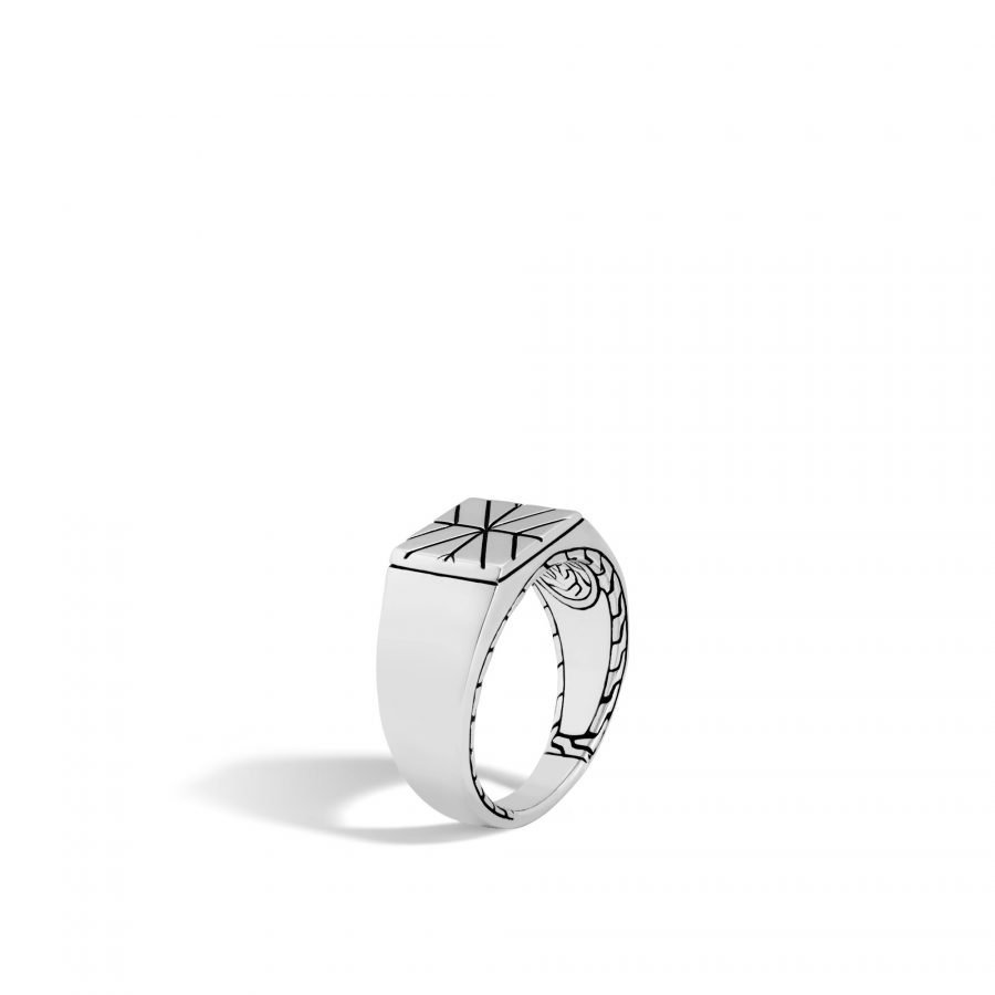 Modern Chain Signet Ring in Silver - Size 10 2