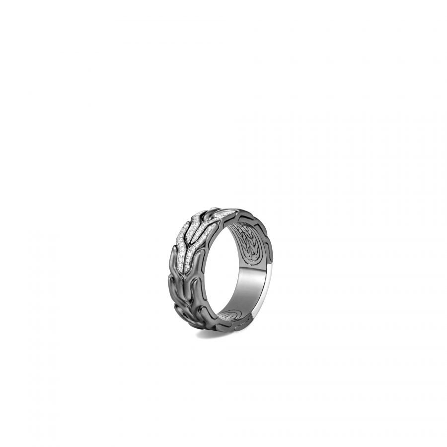 Classic Chain 8MM Band Ring in Blackened Silver with White Diamonds - Size 10 2