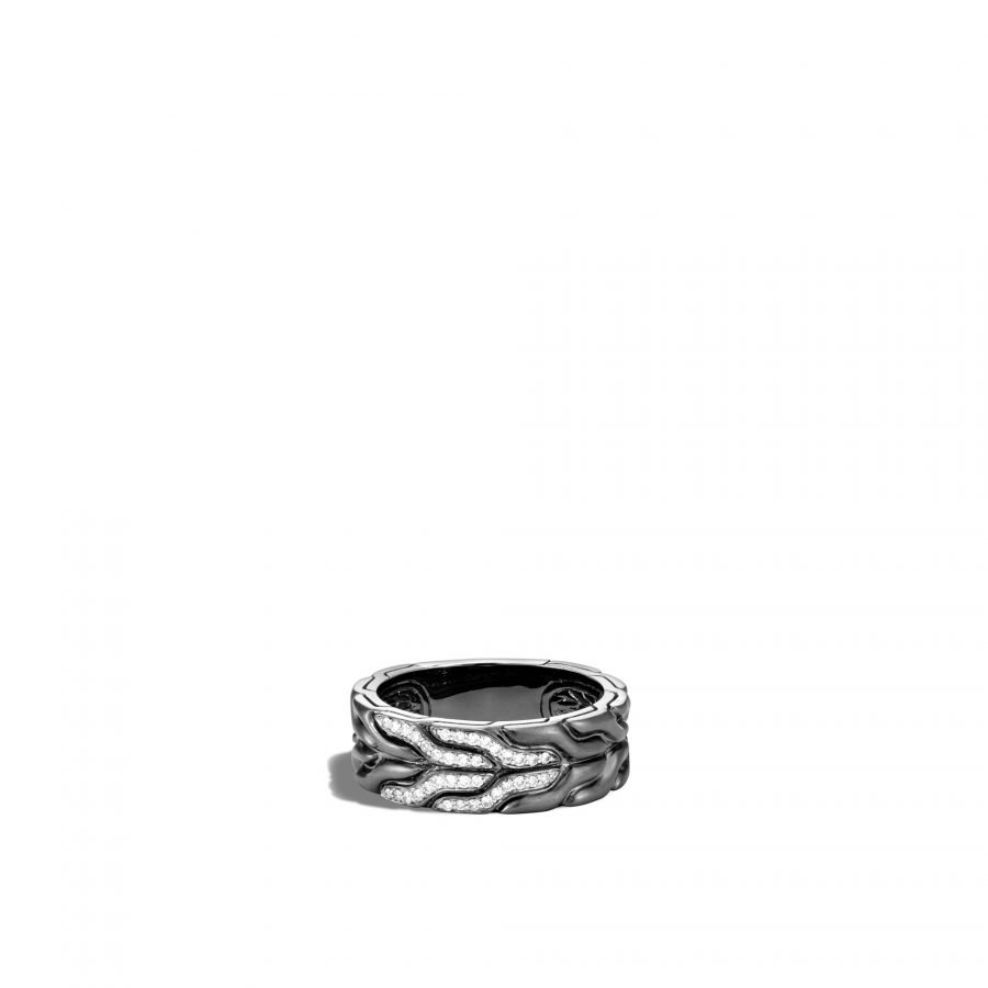 Classic Chain 8MM Band Ring in Blackened Silver with White Diamonds - Size 11 2