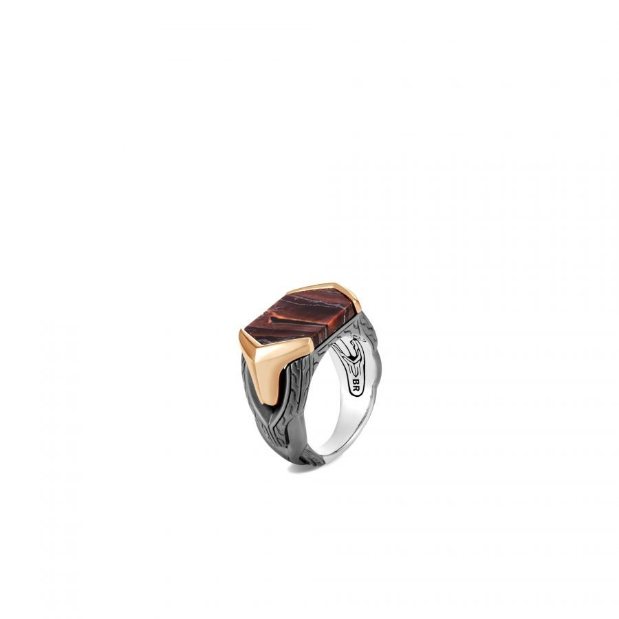 Asli Classic Chain Link Signet Ring in Blackened Silver & Bronze with Red Tiger Iron 2